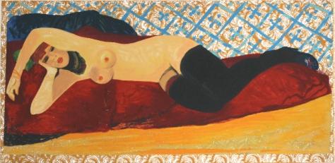 S. Fiume - Ragazza sdraiata - Serigrafia Polimaterica su broccato