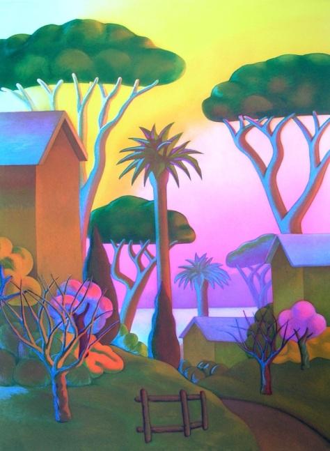 SALVO - 133 x 103 acquatinta _ acquaforte - paesaggio tropicale