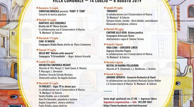 """Ecco il ricco cartellone di """"Vietri in Scena"""": 11 spettacoli gratuiti nella Villa comunale di Vietri sul Mare"""